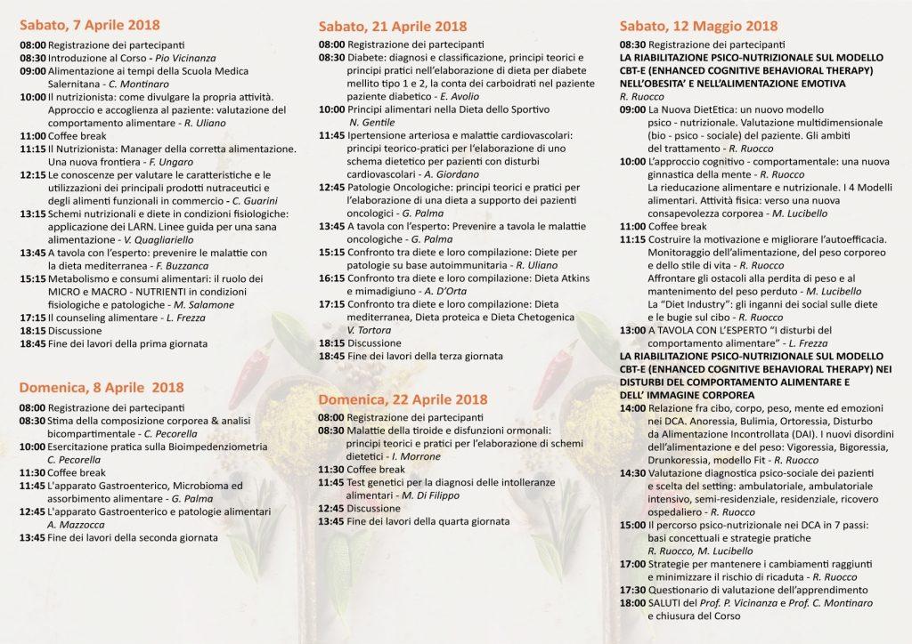 Brochure Corso Nutrizione Salerno - Retro